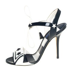 Dolce & Gabbana Navy Blue/White Ankle Tie Open Toe Sandals Size 38