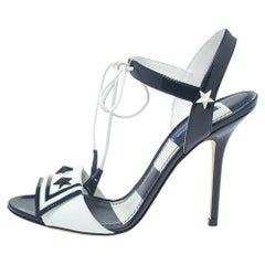 Dolce & Gabbana Navy Blue/White Patent Leather  Open Toe Sandals Size 37.5