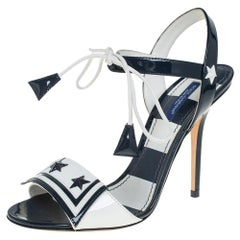 Dolce & Gabbana Navy Blue/White Patent Leather Sailor Sandals Size 37