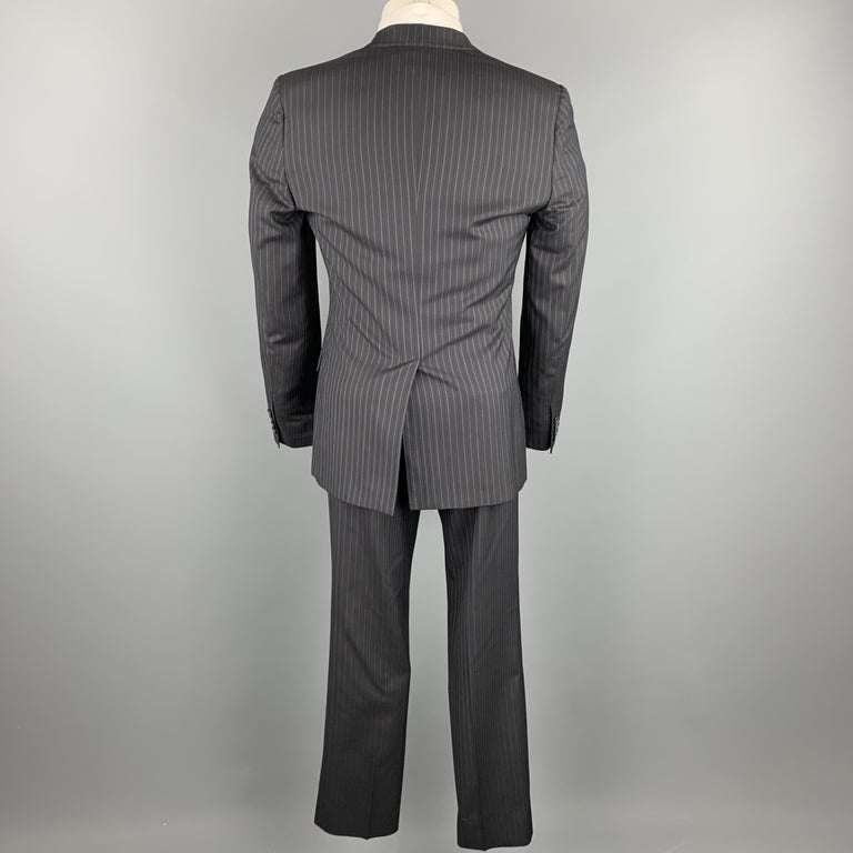 DOLCE & GABBANA Navy Stripe Size 36 Silk / Virgin Wool Notch Lapel Suit In Excellent Condition For Sale In San Francisco, CA