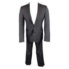 DOLCE & GABBANA Navy Stripe Size 36 Silk / Virgin Wool Notch Lapel Suit