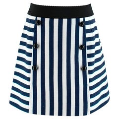 Dolce & Gabbana Navy & White Striped Mini Skirt M 44