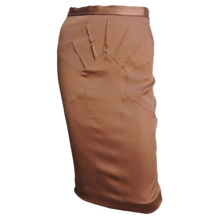Dolce & Gabbana New Bronze Silk Skirt For Sale