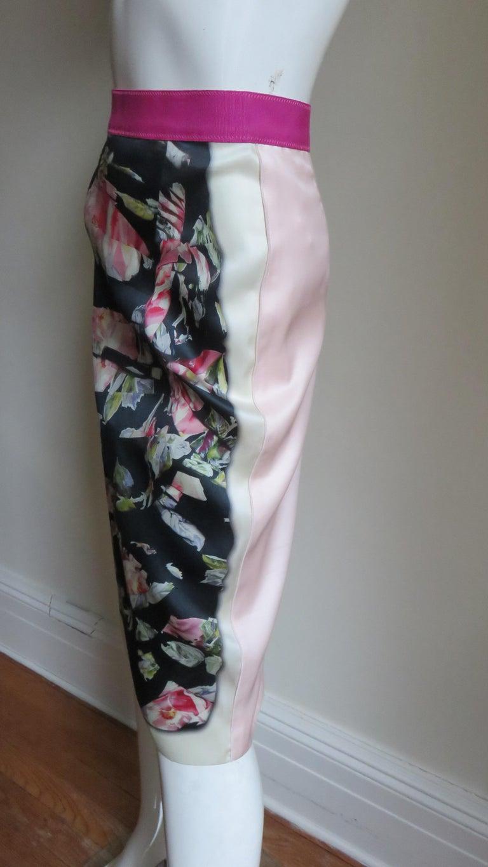 Dolce & Gabbana New Roses Color Block Silk Skirt For Sale 7