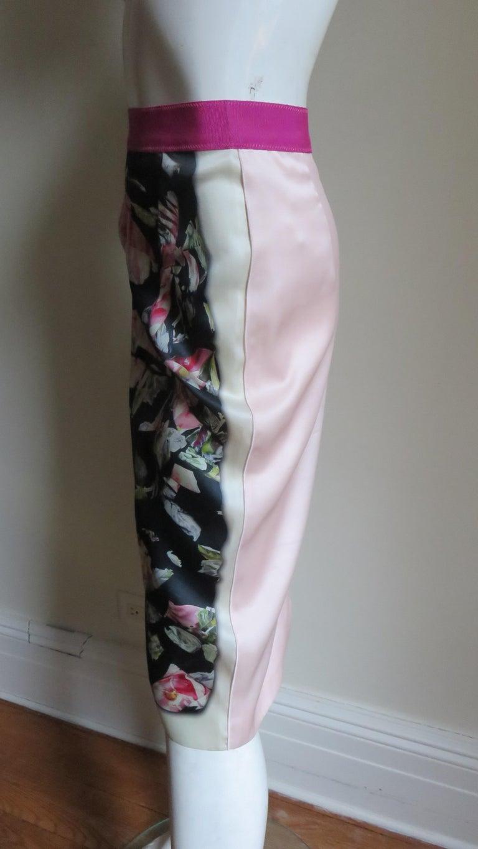 Dolce & Gabbana New Roses Color Block Silk Skirt For Sale 8