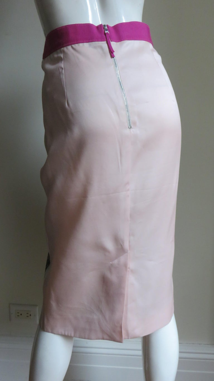 Dolce & Gabbana New Roses Color Block Silk Skirt For Sale 10