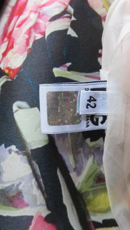 Dolce & Gabbana New Roses Color Block Silk Skirt For Sale 11