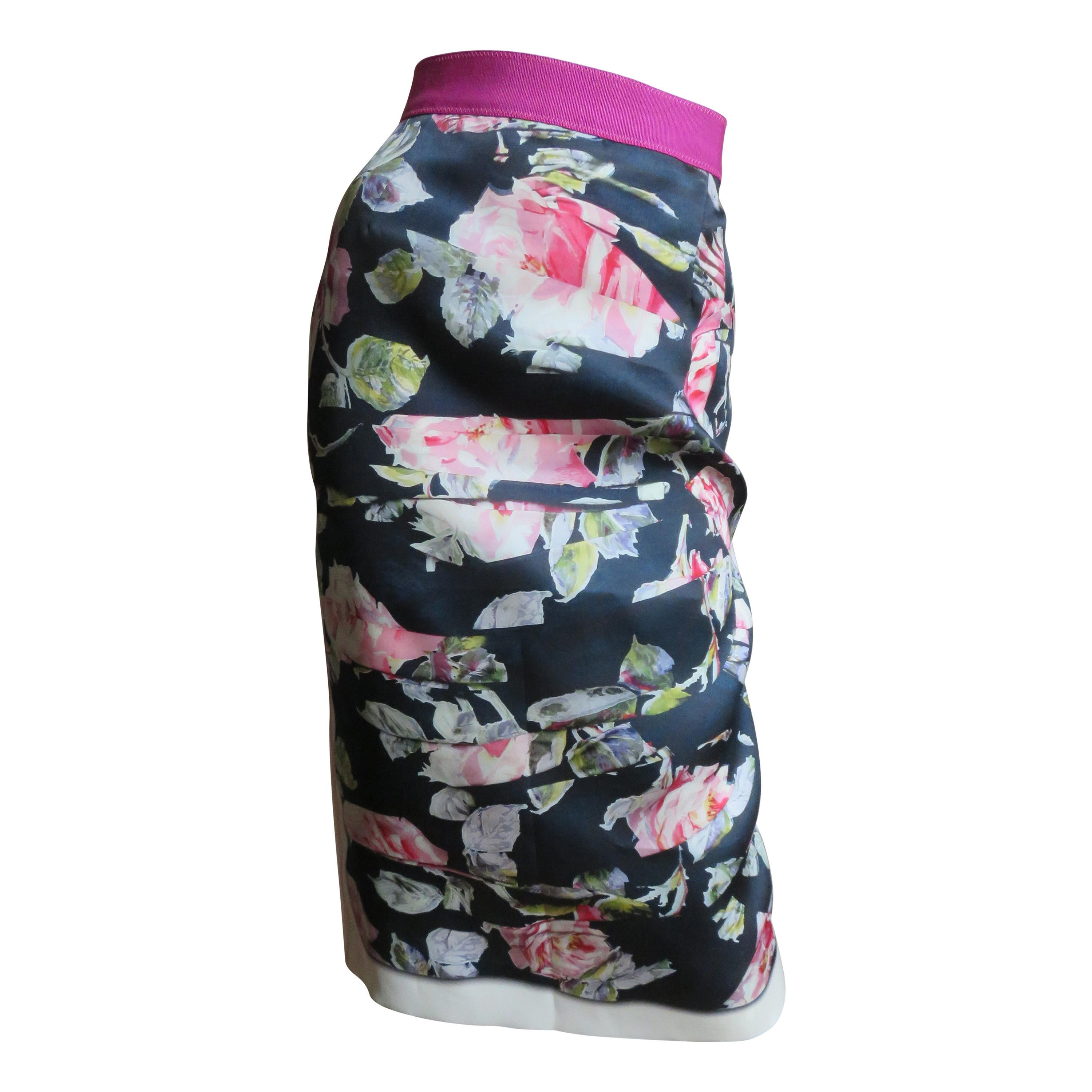 Dolce & Gabbana New Rose Print Color Block Silk Skirt
