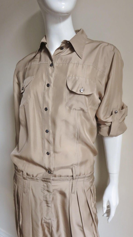 Brown Dolce & Gabbana New Silk Capri Jumpsuit For Sale