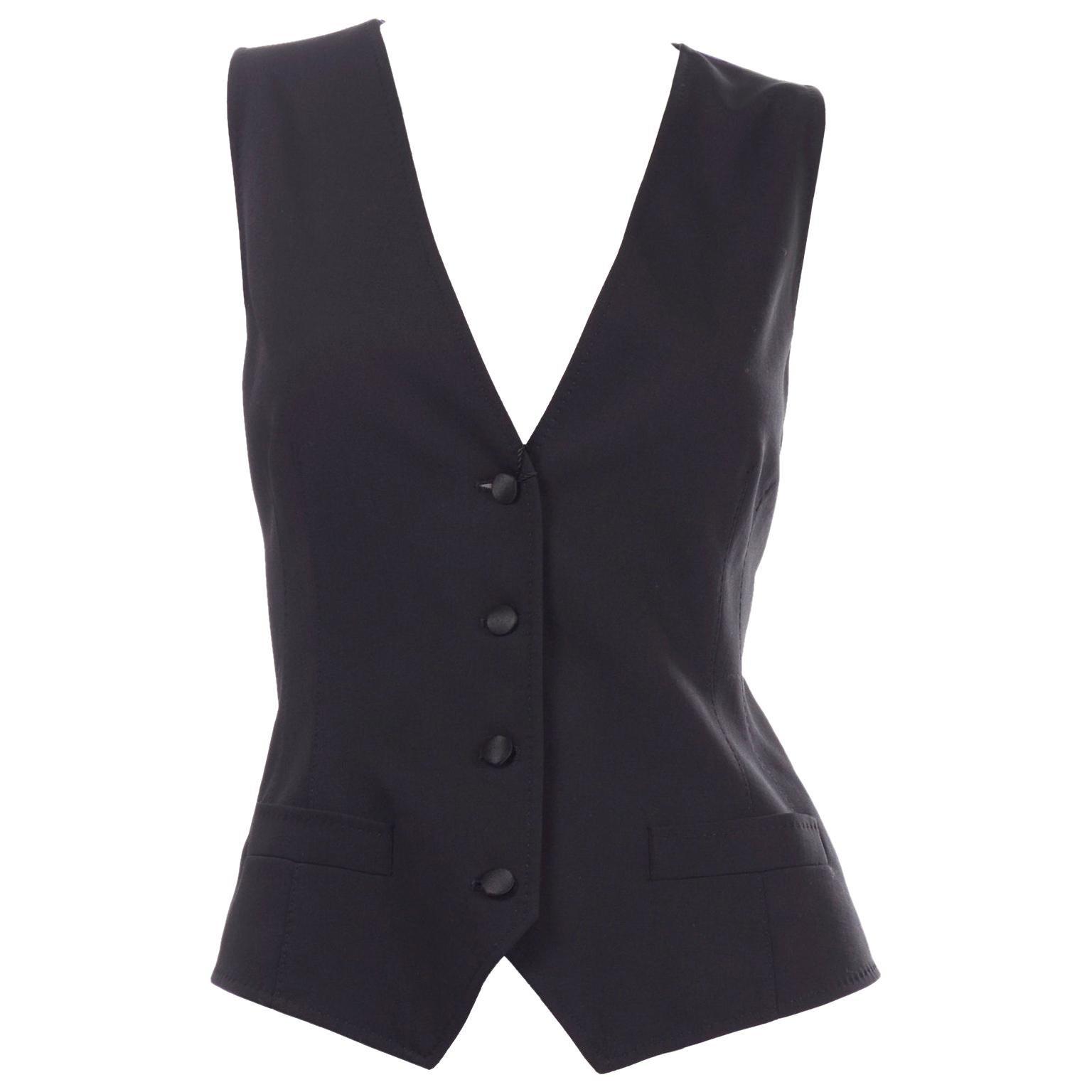 Dolce & Gabbana New With Original Tags Black Tuxedo Vest w Purple Leopard Back