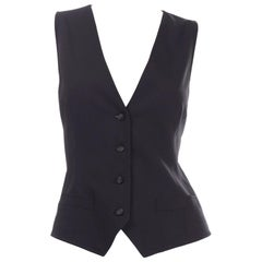 Dolce & Gabbana New With Original Tags Black Tuxedo Vest w Purple Leopard Back