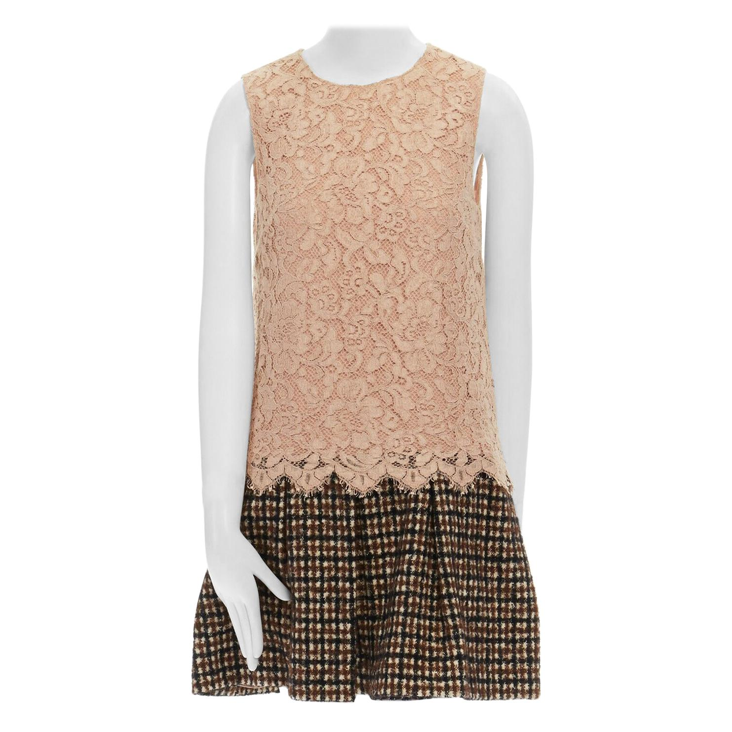 DOLCE GABBANA nude floral lace brown checked wool boucle skirt cocktail dress S