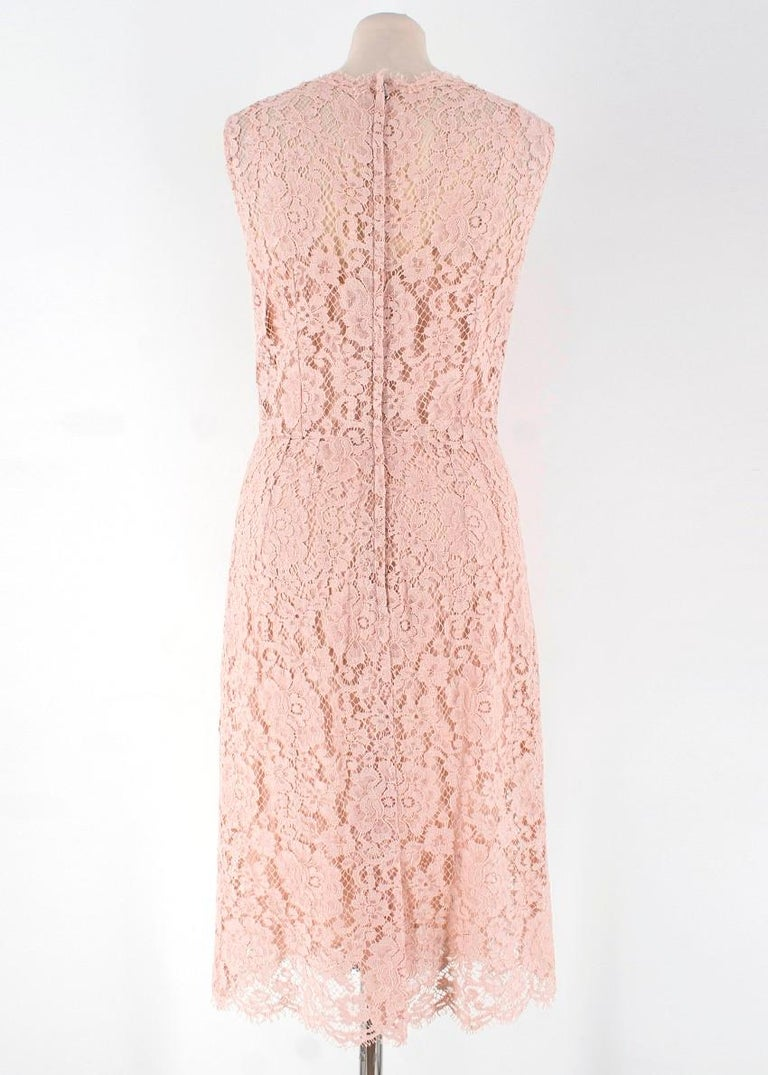 758ceabd ... -Pink lace knee length dress -Sheer dress with. Beige Dolce & Gabbana  Nude Lace Dress US 4 For Sale