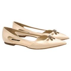 Dolce & Gabbana Nude Point Toe Ballet Flats 41 (IT)