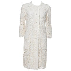 Dolce & Gabbana Off White Floral Lace Button Front Coat M