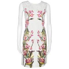 Dolce & Gabbana Off White Floral Print Cotton Jacquard Shift Dress M
