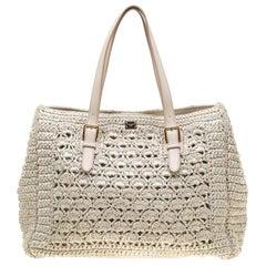 Dolce & Gabbana Off White Raffia Crochet Alma Tote