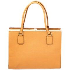 Dolce & Gabbana Orange Dauphine Leather Frame Tote