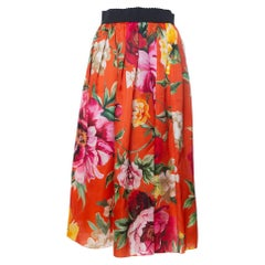 Dolce & Gabbana Orange Floral Printed Silk Midi Skirt M