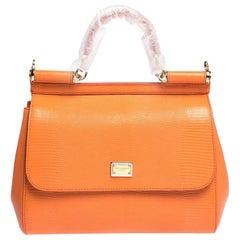 Dolce & Gabbana Orange Iguana Embossed Leather Medium Miss Sicily Bag