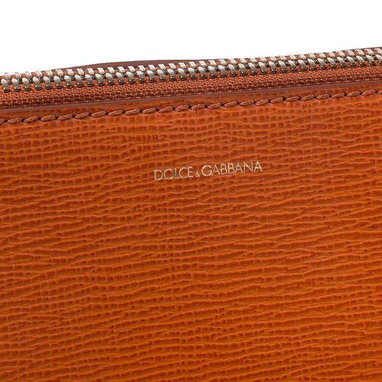 Dolce & Gabbana Orange Leather Escape Shopper Tote For Sale 6