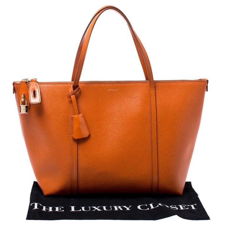 Dolce & Gabbana Orange Leather Escape Shopper Tote For Sale 7
