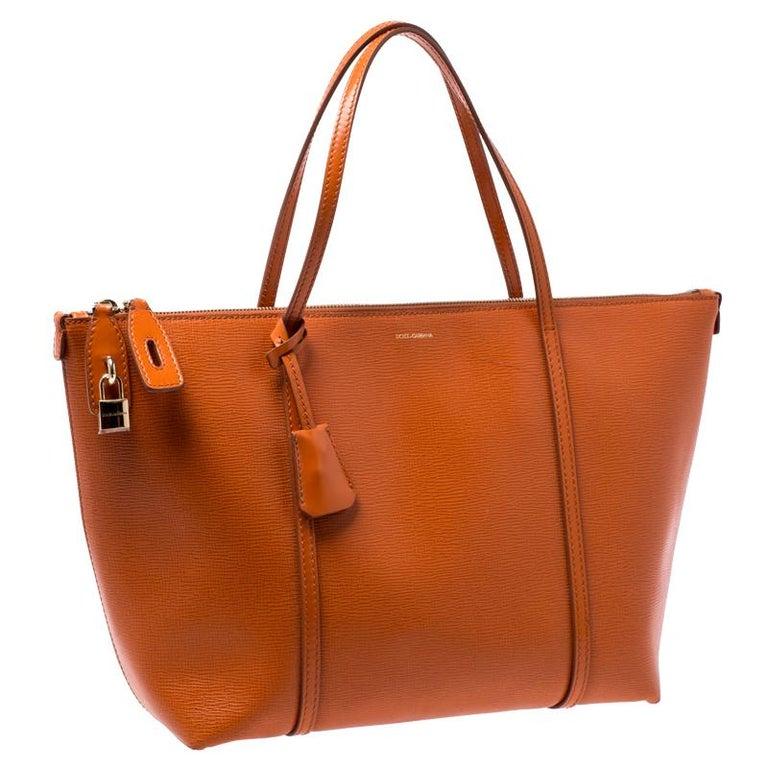 Women's Dolce & Gabbana Orange Leather Escape Shopper Tote For Sale