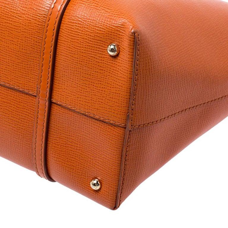 Dolce & Gabbana Orange Leather Escape Shopper Tote For Sale 1