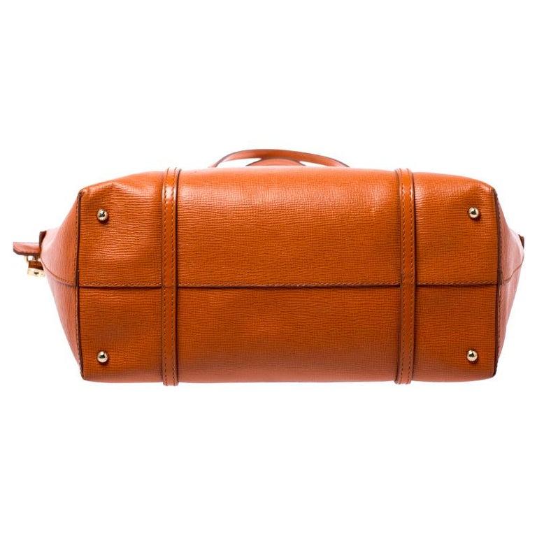 Dolce & Gabbana Orange Leather Escape Shopper Tote For Sale 2