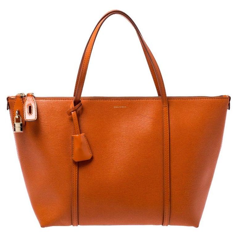 Dolce & Gabbana Orange Leather Escape Shopper Tote For Sale