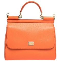 Dolce & Gabbana Orange Leather Medium Miss Sicily Bag