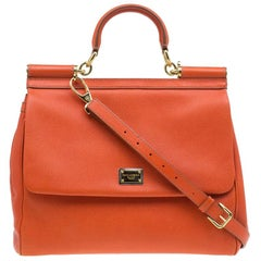 Dolce & Gabbana Orange Leather Medium Miss Sicily Tote