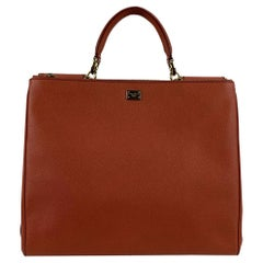Dolce & Gabbana Orange Leather Miss Sicily Tote Shopper Bag