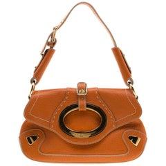 Dolce & Gabbana Orange Pebbled Leather Ring Shoulder Bag