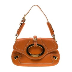 Dolce & Gabbana Orange Pebbled Leather Ring Shoulder Bag