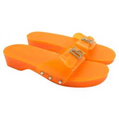 Dolce & Gabbana Orange Rubber Slides 38