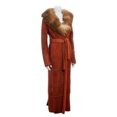 Dolce & Gabbana orange sheepskin maxi coat with fox fur collar, fw 2000