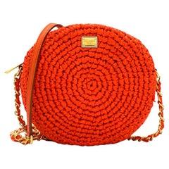 Dolce & Gabbana Orange Straw Round Crossbody Bag 20cm