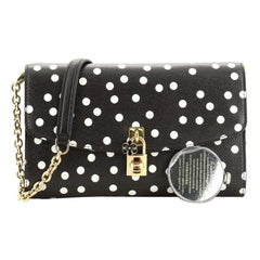 Dolce & Gabbana Padlock Chain Clutch Printed Leather