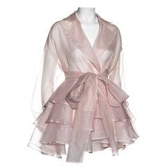 Dolce & Gabbana pale pink silk organza ruffled coat dress, ss 1992