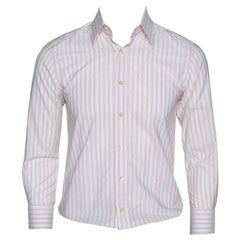 Dolce & Gabbana Pale Pink Striped Cotton Slim Fit Button Front Shirt M