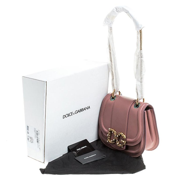 Dolce & Gabbana Pastel Pink Leather Small Amore Crossbody Bag For Sale 6