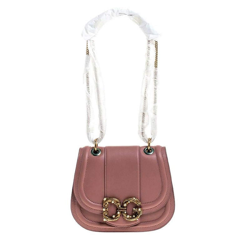 Dolce & Gabbana Pastel Pink Leather Small Amore Crossbody Bag For Sale