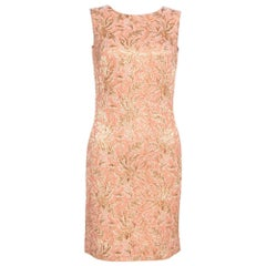 Dolce & Gabbana Peach Brocade Silk Dress S