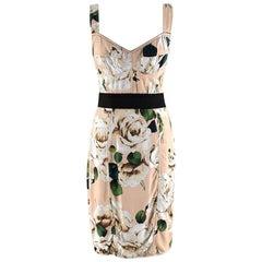 Dolce & Gabbana Peach Floral Bustier Dress - Size US 6