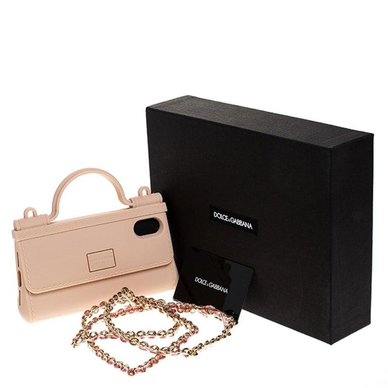 Dolce & Gabbana Peach Rubber Sicily iPhone X - XS Chain Case For Sale 5