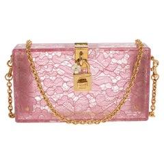 Dolce & Gabbana Pink Acrylic Lace Dolce Box Bag