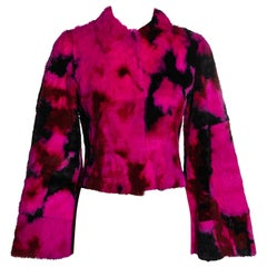 Dolce & Gabbana pink and black tie-dyed fur jacket, fw 1999
