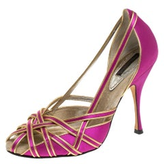 Dolce & Gabbana Pink And Gold Satin Strappy Pumps Size 38