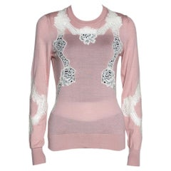 Dolce & Gabbana Pink Chantilly Lace Crew Neck Sweater IT 44